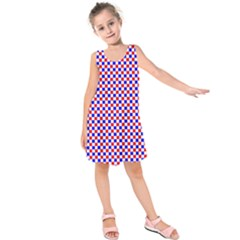Blue Red Checkered Kids  Sleeveless Dress