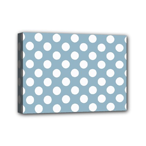 Blue Polkadot Background Mini Canvas 7  X 5