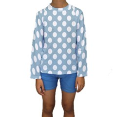 Blue Polkadot Background Kids  Long Sleeve Swimwear