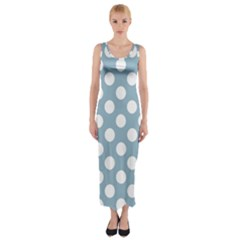 Blue Polkadot Background Fitted Maxi Dress
