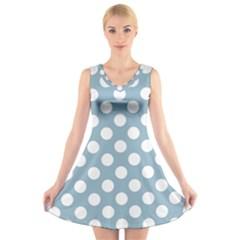 Blue Polkadot Background V-Neck Sleeveless Skater Dress