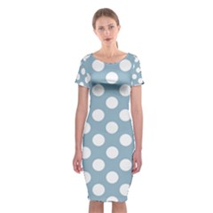 Blue Polkadot Background Classic Short Sleeve Midi Dress