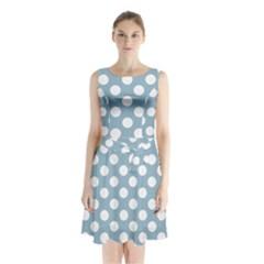 Blue Polkadot Background Sleeveless Chiffon Waist Tie Dress