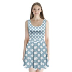 Blue Polkadot Background Split Back Mini Dress