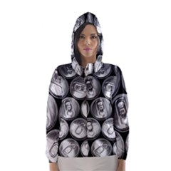 Black And White Doses Cans Fuzzy Drinks Hooded Wind Breaker (Women)