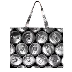 Black And White Doses Cans Fuzzy Drinks Zipper Large Tote Bag
