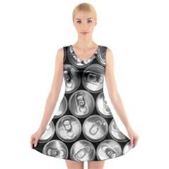 Black And White Doses Cans Fuzzy Drinks V-Neck Sleeveless Skater Dress