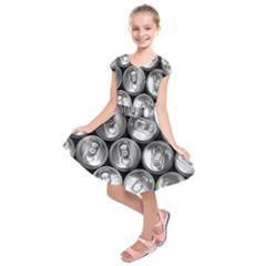 Black And White Doses Cans Fuzzy Drinks Kids  Short Sleeve Dress