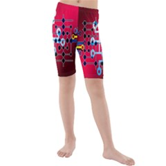 Board Circuits Trace Control Center Kids  Mid Length Swim Shorts