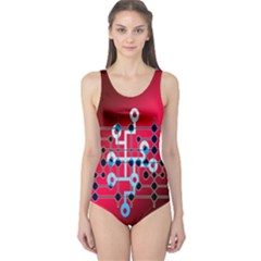 Board Circuits Trace Control Center One Piece Swimsuit
