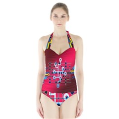 Board Circuits Trace Control Center Halter Swimsuit
