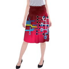 Board Circuits Trace Control Center Midi Beach Skirt