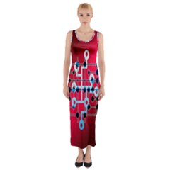 Board Circuits Trace Control Center Fitted Maxi Dress