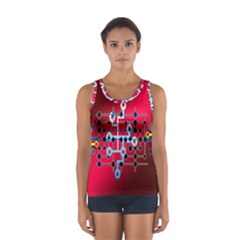 Board Circuits Trace Control Center Women s Sport Tank Top
