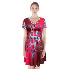 Board Circuits Trace Control Center Short Sleeve V-neck Flare Dress