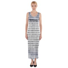 Binary Computer Technology Code Fitted Maxi Dress
