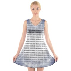 Binary Computer Technology Code V Neck Sleeveless Skater Dress