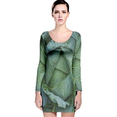 Bright Cabbage Color Dew Flora Long Sleeve Velvet Bodycon Dress
