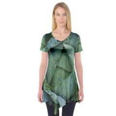 Bright Cabbage Color Dew Flora Short Sleeve Tunic
