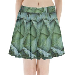 Bright Cabbage Color Dew Flora Pleated Mini Skirt