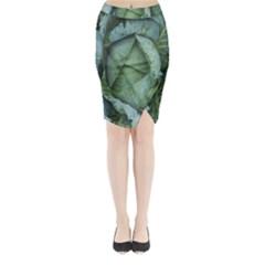 Bright Cabbage Color Dew Flora Midi Wrap Pencil Skirt