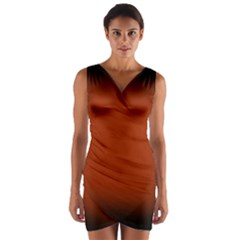 Brown Gradient Frame Wrap Front Bodycon Dress