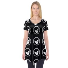 Butterfly Wallpaper Background Short Sleeve Tunic