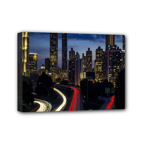 Building And Red And Yellow Light Road Time Lapse Mini Canvas 7  x 5