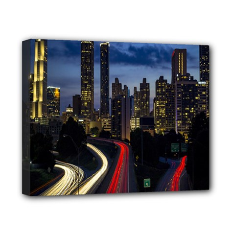 Building And Red And Yellow Light Road Time Lapse Canvas 10  x 8
