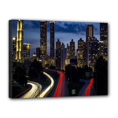 Building And Red And Yellow Light Road Time Lapse Canvas 16  x 12