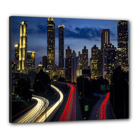 Building And Red And Yellow Light Road Time Lapse Canvas 24  x 20
