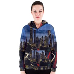 Building And Red And Yellow Light Road Time Lapse Women s Zipper Hoodie