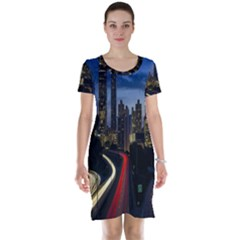 Building And Red And Yellow Light Road Time Lapse Short Sleeve Nightdress