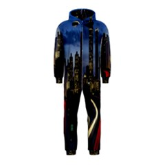 Building And Red And Yellow Light Road Time Lapse Hooded Jumpsuit (Kids)
