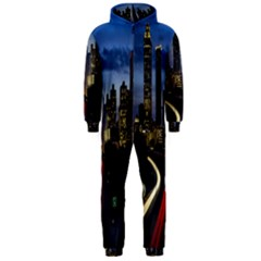 Building And Red And Yellow Light Road Time Lapse Hooded Jumpsuit (Men)