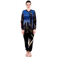 Building And Red And Yellow Light Road Time Lapse Onepiece Jumpsuit (ladies)