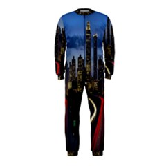 Building And Red And Yellow Light Road Time Lapse OnePiece Jumpsuit (Kids)