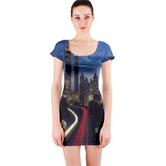 Building And Red And Yellow Light Road Time Lapse Short Sleeve Bodycon Dress