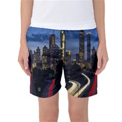 Building And Red And Yellow Light Road Time Lapse Women s Basketball Shorts