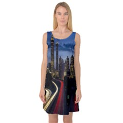Building And Red And Yellow Light Road Time Lapse Sleeveless Satin Nightdress