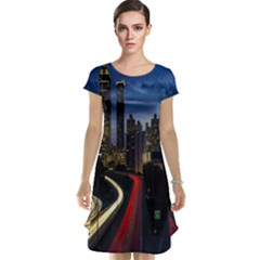 Building And Red And Yellow Light Road Time Lapse Cap Sleeve Nightdress