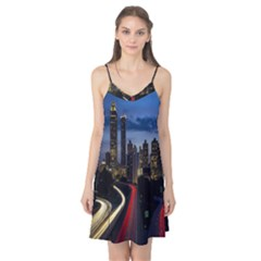 Building And Red And Yellow Light Road Time Lapse Camis Nightgown