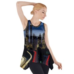 Building And Red And Yellow Light Road Time Lapse Side Drop Tank Tunic