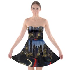 Building And Red And Yellow Light Road Time Lapse Strapless Bra Top Dress