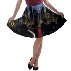 Building And Red And Yellow Light Road Time Lapse A-line Skater Skirt