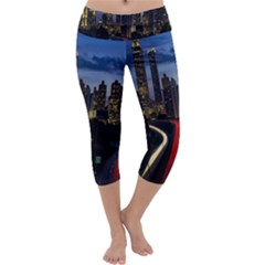 Building And Red And Yellow Light Road Time Lapse Capri Yoga Leggings