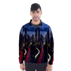 Building And Red And Yellow Light Road Time Lapse Wind Breaker (Men)