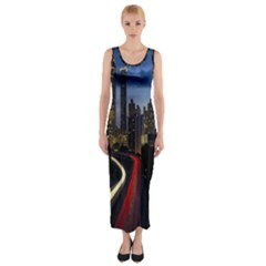 Building And Red And Yellow Light Road Time Lapse Fitted Maxi Dress