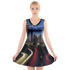 Building And Red And Yellow Light Road Time Lapse V Neck Sleeveless Skater Dress