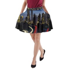 Building And Red And Yellow Light Road Time Lapse A-Line Pocket Skirt